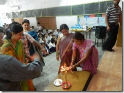 Teacher program 4 Manju LDA's Headmistress lights a lamp to start the program