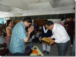 Teacher program 7 MLA Mr. Sharma giving gifts to teachers