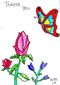 Colourful artwork by a child of pink and purple flowers and a butterfly. Words read 'thank you'